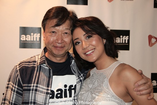 Actors Tzi Ma and Angela Zhou, who play father and daughter in AMC's Hell on Wheels, attend the AAIFF2015 screening of AMC's Hell on Wheels at Village East Cinema in New York on July 31, 2015. Photo by Lia Chang