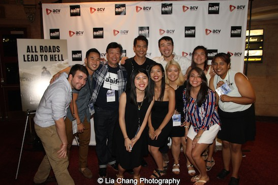 Tzi Ma and Byron Mann pose with the staff of AAIFF2015 after a screening of AMC's Hell on Wheels at Village East Cinema in New York on July 31, 2015. Photo by Lia Chang