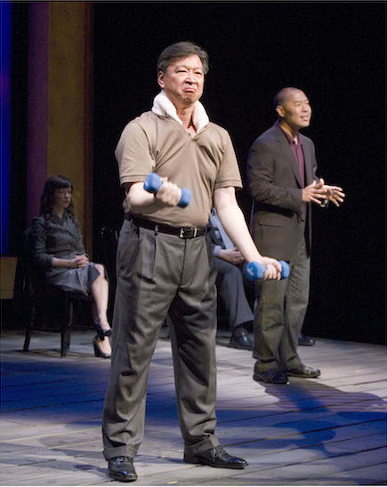 "Julienne Hanzelka Kim, Tzi Ma (foreground) and Hoon Lee in the world premiere of David Henry Hwang's ""Yellow Face"" at the Mark Taper Forum which is produced by Center Theatre Group and The Public Theater, in association with East West Players. Directed by Leigh Silverman. (2007) Photo Credit: Craig Schwartz"