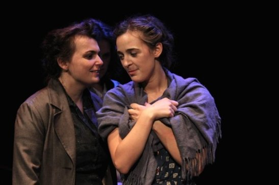 ZOE WATKINS and PHILIPPA DAWSON in THE REPORT. Photo by Lia Chang