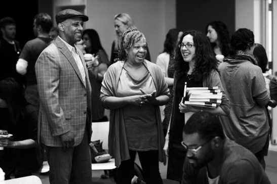 Director Ruben Santiago-Hudson, Costume Designer Karen Perry and Production Dramaturge Kirsten Bowen at the Meet and Greet for Signature Theatre Company's production of August Wilson's The Piano Lesson at The Pershing Square Signature Center in New York in 2012. Photo by Gregory Costanzo