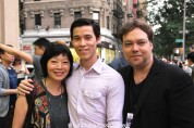 Elizabeth Sung, Jason Tobin and Dax Phelan attend the #AAIFF2015 screening of Jasmine at Village East Cinema in New York on July 30, 2015. Photo by Lia Chang