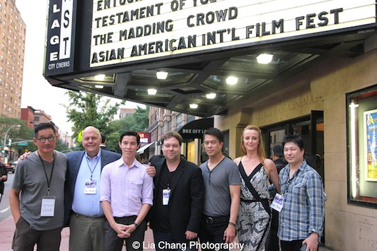ACV Executive Director John Woo, Jon Anderson, Jason Tobin, Dax Phelan, Byron Mann, Nicole Watson and David Tsuboi attend the #AAIFF2015 screening of Jasmine at Village East Cinema in New York on July 30, 2015. Photo by Lia Chang