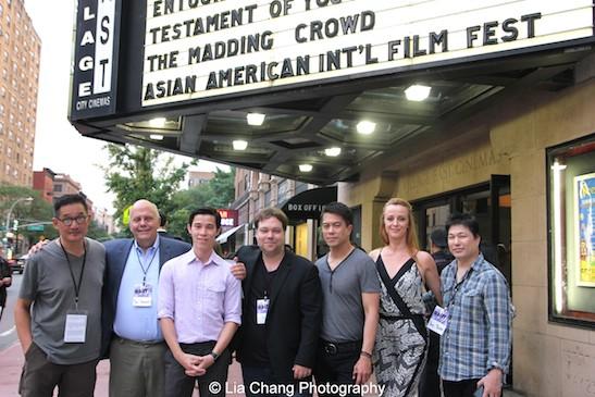 ACV Executive Director John Woo, Jon Anderson, Jason Tobin, Dax Phelan, Byron Mann, Nicole Watson and David Tsuboi attend the #AAIFF2015 screening of Jasmine at Village East Cinema in New York on July 30, 2015. Photo by Lia Chang