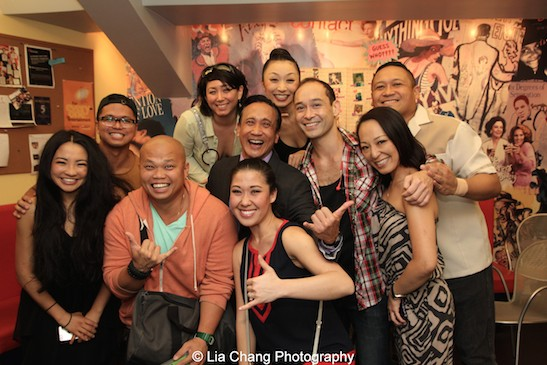 Emily Stillings, Bennyroyce Royon, Viet Vo, RuthieAnn W. Blumenstein, Greg Zane, Arisa Odaka, Rommel Pierre O'choa, Yuki Ozeki and Brian Rivera backstage at the Vivian Beaumont Theater after The Actors Fund Special Performance of The King and I on September 20, 2015. Photo by Lia Chang