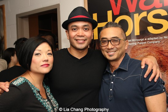 Erin Quill, Jose Llana and Paul Nakauchi backstage at the Vivian Beaumont Theater after The Actors Fund Special Performance of The King and I on September 20, 2015. Photo by Lia Chang
