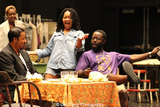 Crystal Dickinson, Jason Dirden, Charlie Hudson III and Christina Acosta Robinson in rehearsal for Two River Theater's production of August Wilson's Seven Guitars. Photo by Lia Chang