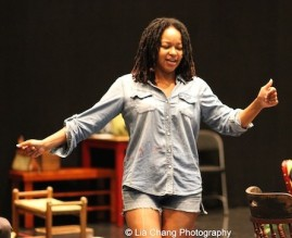 Crystal Dickinson in rehearsal for Two River Theater's production of August Wilson's Seven Guitars. Photo by Lia Chang