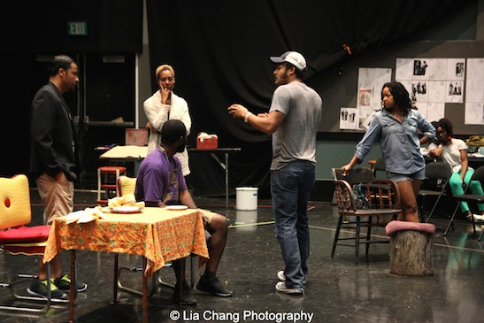 Jason Dirden, Charlie Hudson III, Christina Acosta Robinson, director Brandon J. Dirden and Crystal Dickinson in rehearsal for Two River Theater's production of August Wilson's Seven Guitars. Photo by Lia Chang