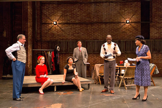 "The cast of ""Trouble in Mind"" at Two River Theater includes, from left, Steven Skybell, Hayley Treider, Amirah Vann, Brian Russell, McKinley Belcher III and Brenda Pressley in Trouble in Mind at Two River Theater in 2014. Costumes by Karen Perry. Photo by T. Charles Erickson"