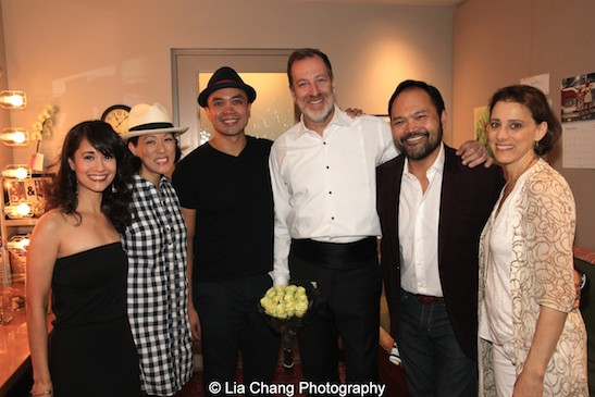 Ali Ewoldt, MaryAnn Hu, Jose Llana, Ted Sperling, Orville Mendoza, Judy Kuhn backstage at the Vivian Beaumont Theater after The Actors Fund Special Performance of The King and I on September 20, 2015. Photo by Lia Chang