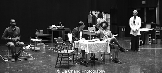 Brian D. Coates, Jason Dirden, Charlie Hudson III, Crystal Dickinson, Christina Acosta Robinson in rehearsal for Two River Theater's production of August Wilson's Seven Guitars. Photo by Lia Chang