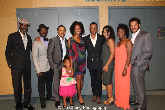 Seven Guitars cast members Brian D. Coats, Charlie Hudson III, Jason Dirden, Christina Acosta Robinson, Kevin Mambo, Crystal Dickinson and Brittany Bellizeare with director Brandon J. Dirden at the opening night party of Two River Theater's Seven Guitars in Red Bank, NJ on September 18, 2015. Photo by Lia Chang