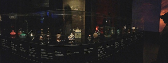 Vintage perfume bottles on view in China: Through the Looking Glass at The Metropolitan Museum of Art on September 5, 2015. Photo by Lia Chang