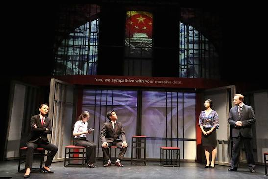 (L-R) Leann Lei as Prosecutor Li, Joy Yao as translator Zhao, Ewan Chung as Judge Xu Geming, Kara Wang s Vice Minister Xi Yan, and Mattew Jaeger as Daniel Cavanaugh in East West Players production of David Henry Hwang's Chinglish. Photo by Michael Lamont