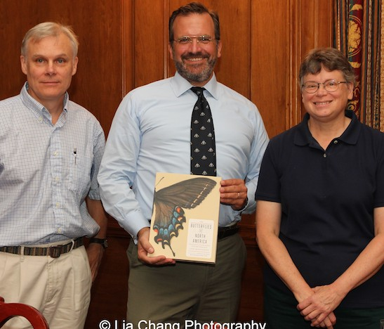 David Grimaldi, curator of The Butterfly Conservatory and in the Division of Invertebrate Zoology, Tom Baione, Harold Boeschenstein Director of the Museum's Research Library and Barbara Rhodes is Conservator of the American Museum of Natural History's Research Library at the American Museum of Natural History in New York on September 1, 2015. Photo by Lia Chang