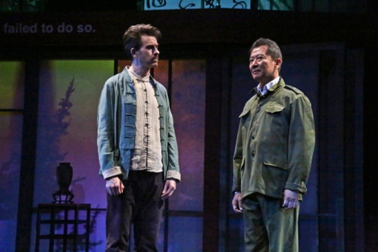 (L-R) Jeff Locker as British ex-pat Peter Timms and Ben Wang as Minister of Culture Cai Guoliang in East West Players production of David Henry Hwang's Chinglish. Photo by Michael Lamont