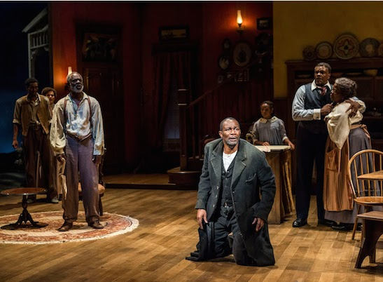 "(L-R) Gabriel Brown, January LaVoy, Glynn Turman, John Douglas Thompson, Skye Barrett, Keith David and Lillias White in August Wilson's ""Joe Turner's Come and Gone,"" directed by Phylicia Rashad, at the Center Theater Group/Mark Taper Forum in 2013. Costumes by Karen Perry. Photo by Craig Schwartz"