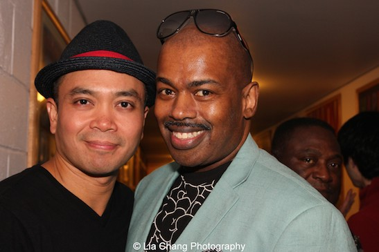 Jose Llana and Lance Roberts backstage at the Vivian Beaumont Theater after The Actors Fund Special Performance of The King and I on September 20, 2015. Photo by Lia Chang