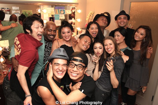 Atsuhisa Shinomiya, Lance Roberts, Emilio Ramos, Kristen Faith Oei, Jon Viktor Corpuz, Julius Sermonia, Emily Stillings, Michiko Takemasa, Brian Rivera, Erin Quill, Jose Llana and Ashley Park backstage at the Vivian Beaumont Theater after The Actors Fund Special Performance of The King and I on September 20, 2015. Photo by Lia Chang