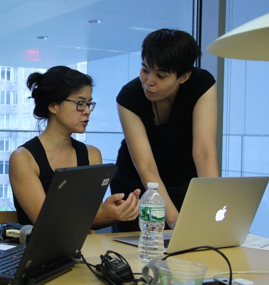 Karen Li-Lun Hwang and Ann Matsuuchi, Instructional Technology Librarian/Associate Professor, LaGuardia Community College at Smithsonian Asian Pacific American Center's Edit-a-thon at Museum of Modern Art in New York on September 2, 2015. Photo by Lia Chang
