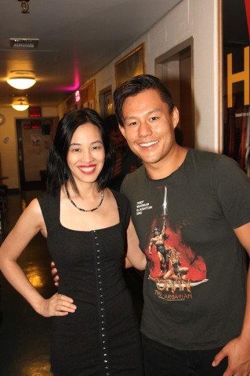 Lia Chang and Kelvin Moon Loh backstage at the Vivian Beaumont Theater after The Actors Fund Special Performance of The King and I on September 20, 2015.
