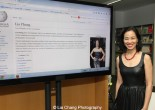 Lia Chang and her Wikipedia page on the screen at the Smithsonian Asian Pacific American Center's Edit-a-thon at Museum of Modern Art in New York on September 2, 2015. Photo by Vic Huey