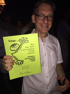 Martin Casella receives 2015 FringeNYC Overall Excellence Award for Playwriting for his compelling new drama The Report at Drom in New York on August 3o, 2015. Photo by Sarahbeth Grossman