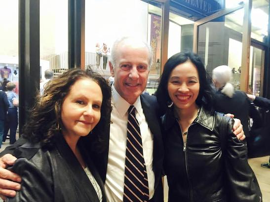 Publicist Merle Frimark, Joseph P. Benincasa, President & CEO, The Actors Fund and Lia Chang at the Vivian Beaumont Theater in New York on September 20, 2015. Photo by Annie Chun
