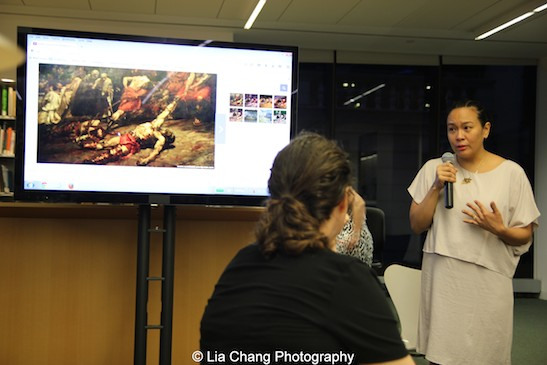 FAM co-founder, Nancy A. Bulalacao-Leung speaks at the Smithsonian Asian Pacific American Center's Edit-a-thon at Museum of Modern Art in New York on September 2, 2015. Photo by Lia Chang