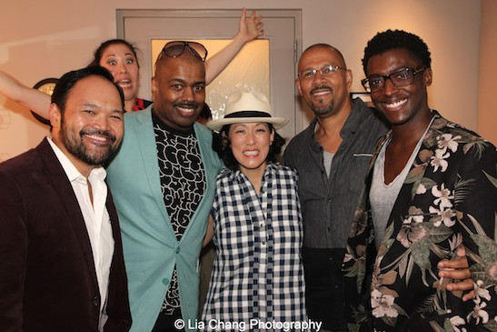 Orville Mendoza, Ruthie Ann Miles, Lance Roberts, MaryAnn Hu, Eugene Ware-Hill, Timothy Ware-Hill backstage at the Vivian Beaumont Theater after The Actors Fund Special Performance of The King and I on September 20, 2015. Photo by Lia Chang