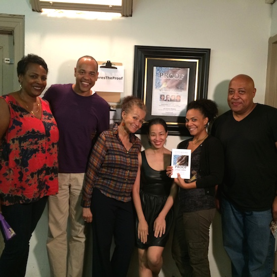 Lia Chang is flanked by Quick Silver Theater Company members Inga Ballard, Tyrone Mitchell Henderson, Lizan Mitchell, Rachel Leslie and Keith Randolph Smith. Photo by GK
