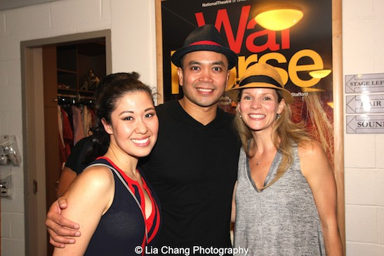 Ruthie Ann Miles, Jose Llana and Kelli O'Hara backstage at the Vivian Beaumont Theater in New York on September 20, 2015. Photo by Lia Chang