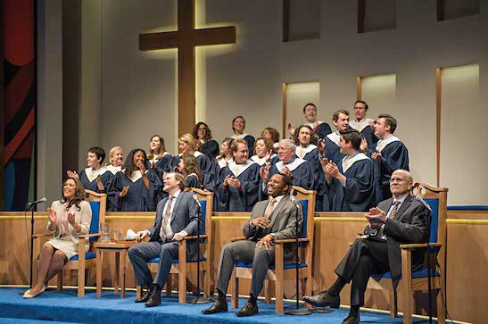 "Linda Powell, Andrew Garmon, Larry Powell, Richard Henzel and the Choir in ""The Christians."" at the 38th Humana Festival of New American Plays at Actors Theatre of Louisville. (Photo by Michael Brosilow)"