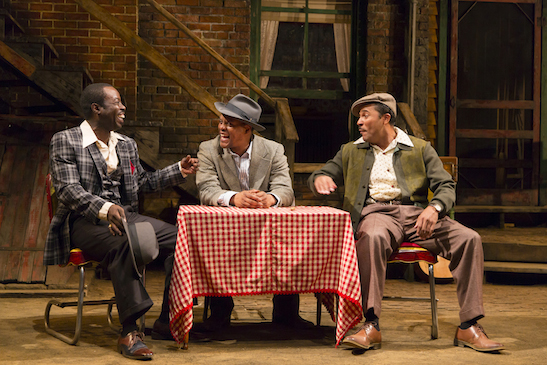 Jason Dirden (Canewell), Charlie Hudson III (Red Carter), and Kevin Mambo (Floyd Barton) in August Wilson's Seven Guitars at Two River Theater. Photo by T. Charles Erickson