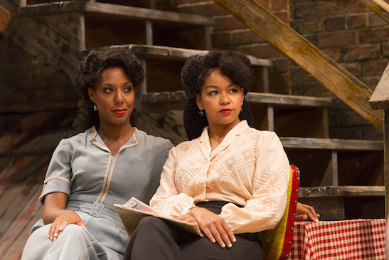 Christina Acosta Robinson (Vera) and Crystal A. Dickinson (Louise) in August Wilson's Seven Guitars at Two River Theater. Photo by T. Charles Erickson