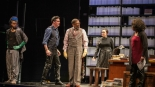 Edgar Sanchez (J), Tim Decker (Tim), Eugene Lee (Alexander Ames), Lisa Tejero (Deb) and Jacqueline Williams (Jan) in the Goodman Theatre's production of stop. reset. written and directed by Regina Taylor in 2015. Costumes by Karen Perry. Photo by Liz Lauren