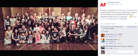 The King and I company on the Vivian Beaumont Theater stage with Billy Porter before The Actors Fund Special Performance on September 20, 2015. Photo courtesy of The Actors Fund/Facebook