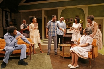 The cast of Signature Theatre's revival of The First Breeze of Summer, directed by Ruben Santiago-Hudson in 2008. Costumes by Karen Perry. Photo by Richard Termine
