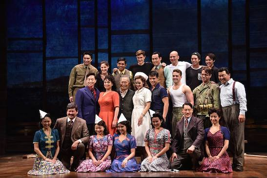 The cast of Allegiance at a press preview at the Longacre Theatre. Photo courtesy of Allegiance/Facebook