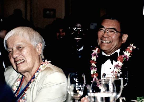 Grace Lee Boggs and Norman Mineta at the OCA Convention in Atlanta in 2000. Photo by Lia Chang