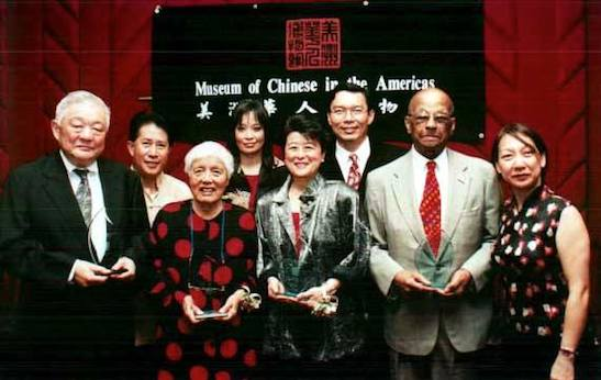 Ming Cho Lee, Martin Yan, Grace Lee Boggs, Margaret Fung, Helen Zia, Jack Tchen, Judge Thomas Russell, Fay Chew Matsuda at the MoCA Benefit Dinner in New York City in 2002. Photo by Lia Chang