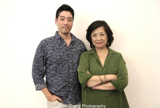 NAATCO'S Associate Producer Peter Kim and NAATCO'S Artistic Producing Director Mia Katigbak at The Public Theater in New York. Photo by Lia Chang