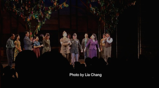 The cast of ALLEGIANCE at their first preview curtain call at the Longacre Theatre in New York on October 6, 2015. Photo by Lia Chang