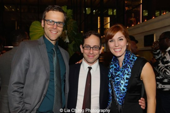 Aaron Gaines, Garth Kravits and Mara Davi attend the 2015 Steinberg Playwright Awards on November 16, 2015 in New York City. Photo by Lia Chang