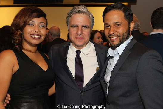 Atlantic Theater Company's Neil Pepe is flanked by Nikiya Mathis and Jason Dirden attend the 2015 Steinberg Playwright Awards on November 16, 2015 in New York City. Photo by Lia Chang
