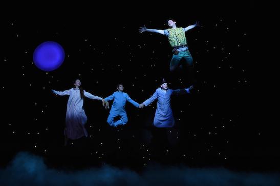Delphi Borich (Wendy Darling), Séamus Gailor (Michael Darling), Matthew Caraccioli (John Darling), and Troy Hussmann (Peter Pan) in PETER PAN rehearsals. Photo by Brenna Merritt.