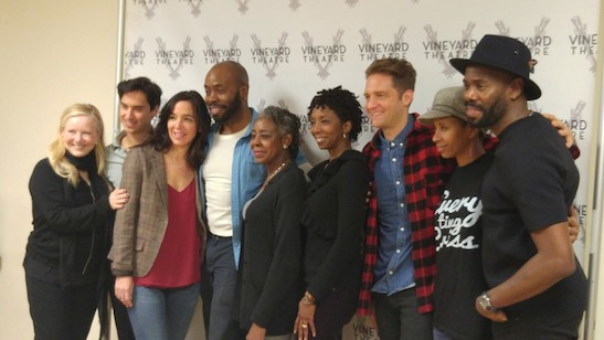 Director Susan Stroman, Michael Rosen, Finnerty Steeves, Stephen Conrad Moore, Marjorie Johnson, Sharon Washington, Colin Hanlon, Libya V. Pugh and playwright/actor Coleman Domingo attend the first day of rehearsals for the cast and creatives of the Vineyard Theatre's production of 'Dot' at Snapple Center on January 4, 2016 in New York City. Photo: Facebook