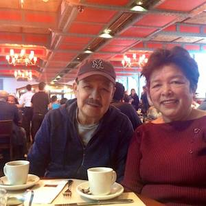 "Iluminado ""Nomie"" Sangalang and his wife Herminia during their trip to New York over Thanksgiving. Photo courtesy of Minerva Sangalang-Eshabarr"