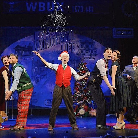 Maggie Lakis, Brandon Ellis, Garth Kravits, Wayne Wilcox, Whitney Bashor and Kevin Pariseau in 'It's A Wonderful Life: A Live Radio Play' at Buck's County Playhouse through December 27, 2015. Photo by Mandee Kuenzle